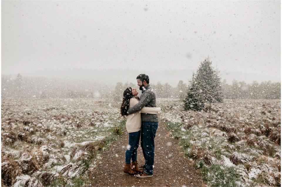 Photo séance engagement mariage fagnes neige hiver